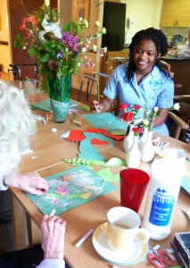 staff and residents enjoying creativity