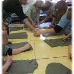 imprinting into clay